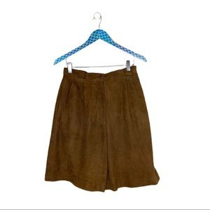 Vakko Vintage Suede Tan Leather High Rise Shorts